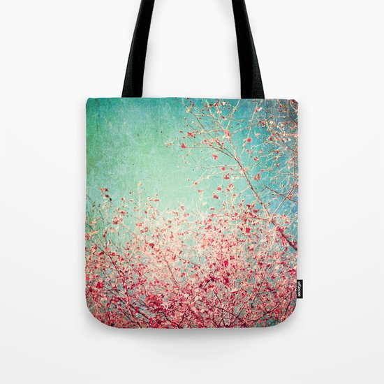 Blue Autumn, Pink leafs on blue, turquoise, green, aqua sky Tote Bag