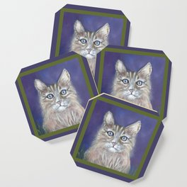CUTE YOUNG TABBY CAT GREY BEIGE CHALK PASTEL DRAWING Coaster