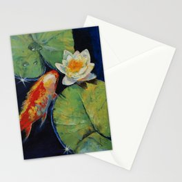 Koi and White Lily Stationery Cards