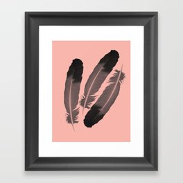 Pink & Feather Framed Art Print