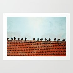 Birds on a Rooftop Art Print
