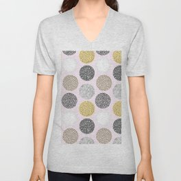 Yellow, White, Gray, Pink and Black Circle Print Unisex V-Neck