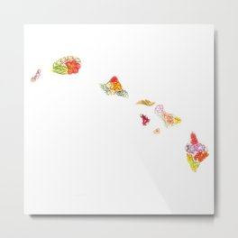 Hand Painted Hawaii State Map Metal Print