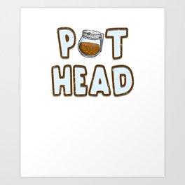 Pot Head Coffee Pot Caffeine Vintage Coffee lovers  Art Print