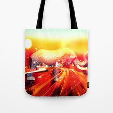 Elephant on the highway. Tote Bag