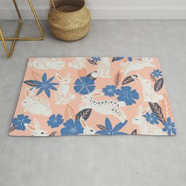 Bunnies & Blooms - Blue & Blush Palette Rug
