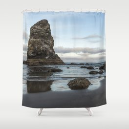 A Serene Morning at Cannon Beach Shower Curtain
