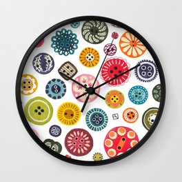 Vintage Button Love Wall Clock