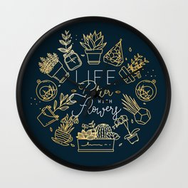 Monogram pots with plants life better gold Wall Clock