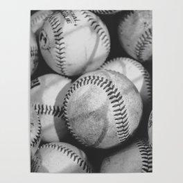 Baseballs in Black and White Poster