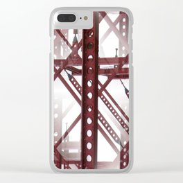 Red Steel Construction Clear iPhone Case