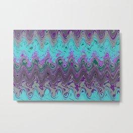 Marble pattern turquoise purple Metal Print