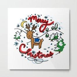 Reindeer Fun Metal Print