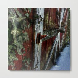 """""""The Ivy Green and The Old Red Shed In Winter"""" Metal Print"""