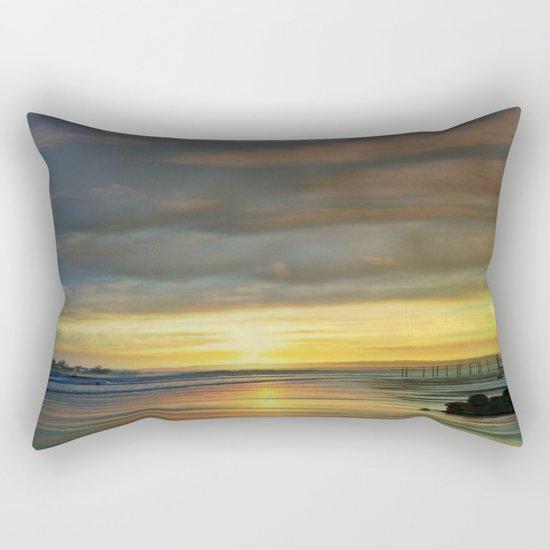 Captivating Sunset Over The Harbor  Rectangular Pillow
