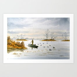 Duck Hunting - The Island Duck Blind Art Print