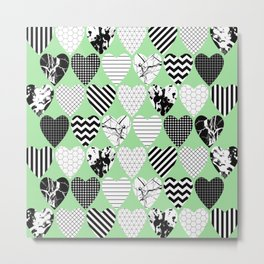 Hearts On Pastel Green - Abstract, black and white, geometric Metal Print