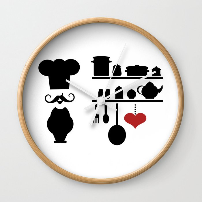 Chef silhouette with kitchen elements Wall Clock by sooperyela