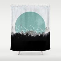 woods Shower Curtains featuring Woods Abstract 2 by Mareike Böhmer