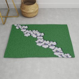 Cherry-blossoms Branch Decorative On A Field Of Fern Rug