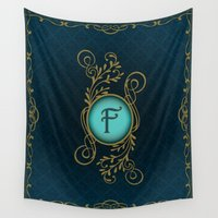 monogram Wall Tapestries featuring Monogram F by Britta Glodde