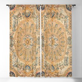 Louvre Fame Carpet // 16th Century Sunflower Yellow Blue Gold Colorful Ornate Accent Rug Pattern Blackout Curtain
