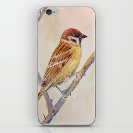 Watercolor sparrow illustration iPhone Skin