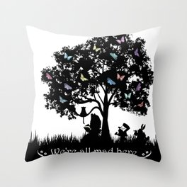 We're All Mad Here III - Alice In Wonderland Silhouette Art Throw Pillow