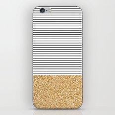 Minimal Gold Glitter Stripes iPhone & iPod Skin