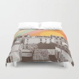 Rainbow Sky Above Paris Duvet Cover