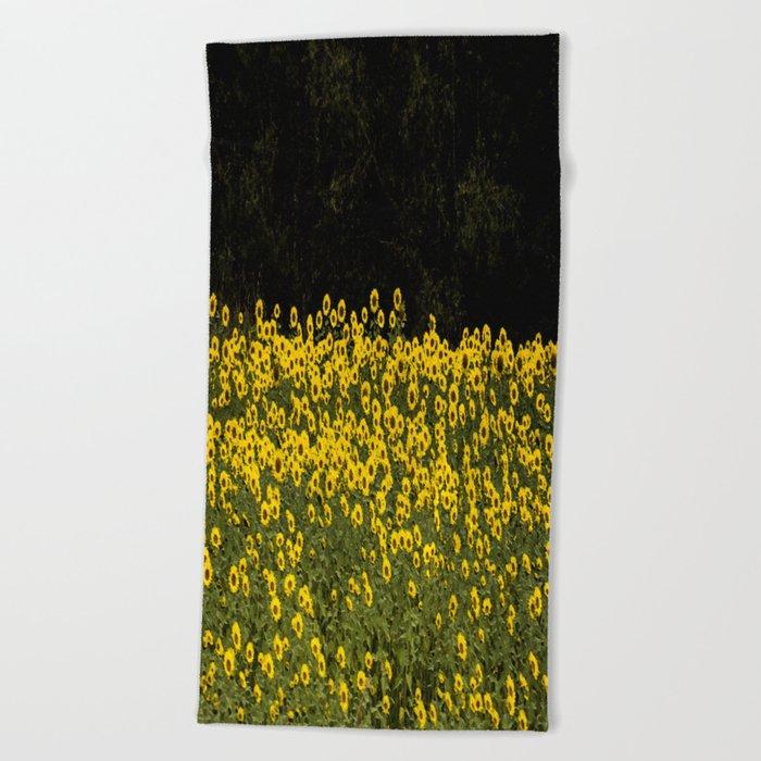 Sunflower Field On A Dark Background #decor #buyart Beach Towel