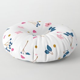 Modern Petite Pink Floral And Trendy Leaf Pattern Floor Pillow