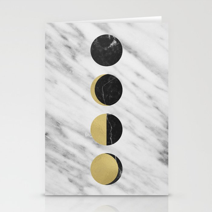 Black Moon on Marble Stationery Cards