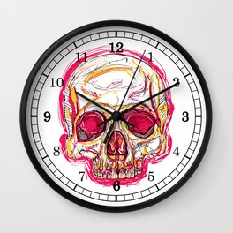 Skull abstract 01 color red Wall Clock