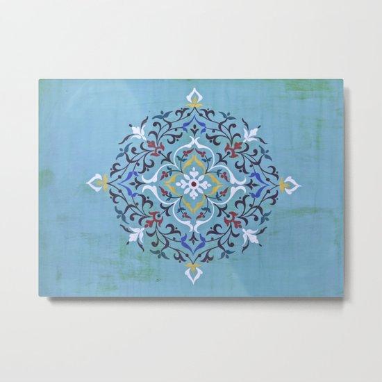 Calligraphy Flower Metal Print