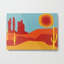 Funky Retro Desert in 70s Colors Metal Print