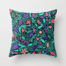 Spring Black Flowers Leaves Illustration Pattern Throw Pillow