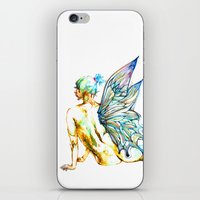 tinker bell iPhone & iPod Skins featuring Tinker Bell with one wing by Chien-Yu Peng
