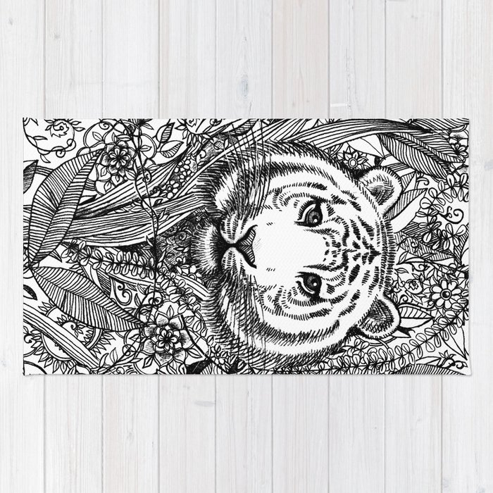 Tiger Tangle in Black and White Rug