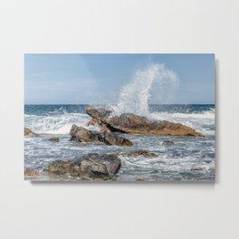 Wave crashing on the rocks 0819 Metal Print