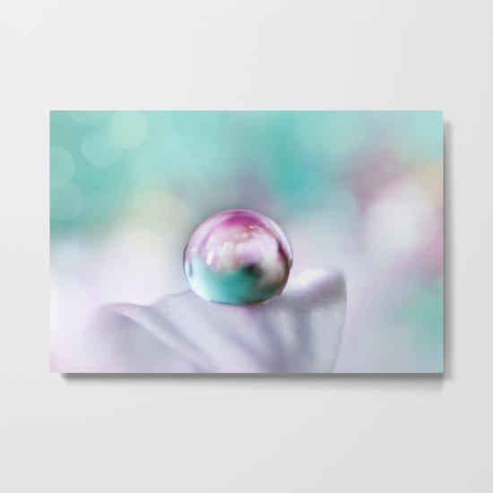 Turquoise Droplet Metal Print