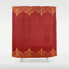 Red vintage leather gold lace frame Shower Curtain