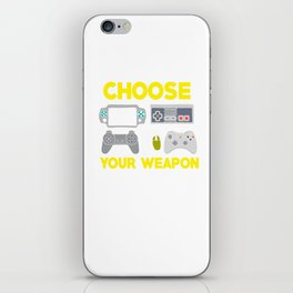 Choose Your Weapon Gaming Controllers Videogames Keyboard Mouse Joystick Gamers Gift iPhone Skin