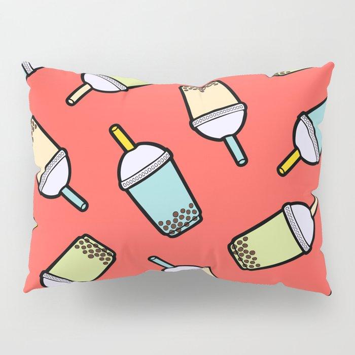 Bubble Tea Pattern in Red Pillow Sham