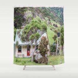 Cottage at Flea Bay, Akaroa, New Zealand Shower Curtain