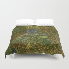 Old stone wall with moss Duvet Cover