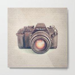 Vintage Nikon Camera Watercolor Metal Print