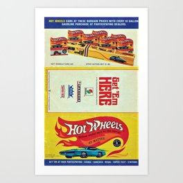 1969 Hot Wheels Redline Toy Cars Shell Gas Station Promotional Poster Art Print