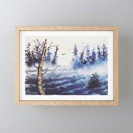 Stormy Paddle - Canoe in Northern Minnesota - Birch & Pine - Susanne Johnson Art Framed Mini Art Print