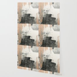 Peace and Quiet [1]: a pretty, minimal abstract piece in gray and peach by Alyssa Hamilton Art Wallpaper